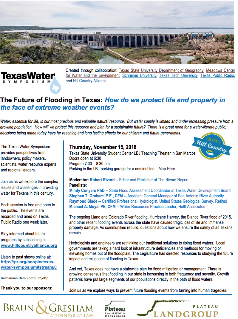 Texas Water Symposium: The Future of Flooding in Texas - Wimberley