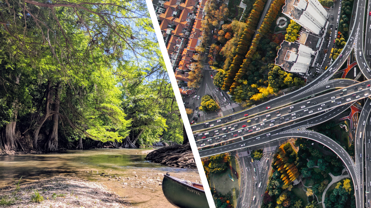 Images of natural beauty and roadways.
