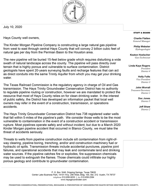 Letter to Hays Co. Well Owners from HTGCD