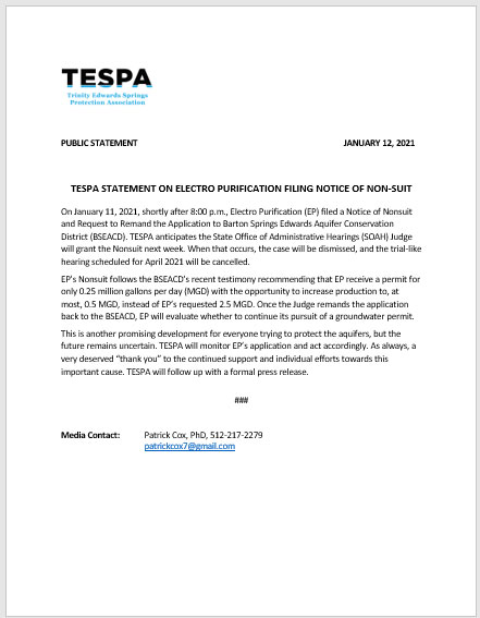 TESPA Statement on Electro Purification Filing Notice of Non-suit