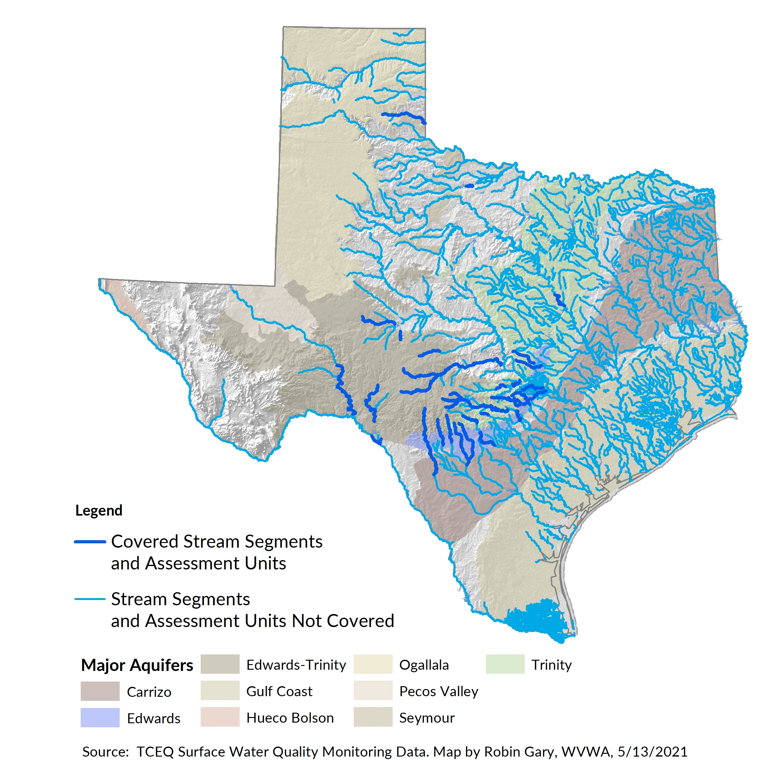 TCEQ segments and assessment units covered by the Pristine Waters bill (HB 4616)
